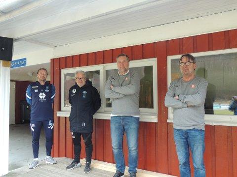 Viktig samarbeid:  Thomas Mork og Jarl Torske fra Akerakademiet, Jørund Svensli og Torbjørn Torske i Sunndal IL Fotball.