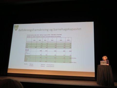 Prognoser: Barnetallet i Sunndal kommer til å stupe i årene som kommer. Barnehagesjef Mona Reinset viste fram tallene på møtet onsdag kveld.
