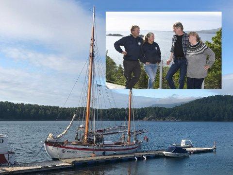 HJERTELIG MØTE: Siv Husby og ektefellen Per Steinar Husby (t.h.) fikk besøk av Kathinka Gyllenhammar og Knut Nilsen, som i dag eier RS Kragerø.