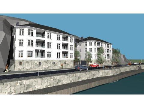 Illustrasjonen som viser hvordan bygningene kan tenkes å bli og hvordan den nye veiløsningen i Hasalen vil kunne bli. Illustrasjoner: Arkitekt Goutbeek