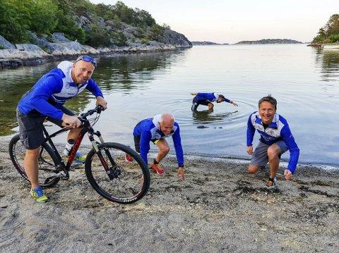 Inviterer barna: Risør Idrettslag, her representert ved Erik Nilsen, Thomas Axelsen, Halvor Halvorsen og Vidar Alvestad skal arrangere barnetriatlon på Randvik Østre strand til helga.