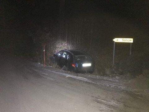 Bilen som kjørte av veien i natt.