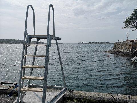 Stupetårnet fra Dampskipsbrygga gir en fin mulighet for en liten svømmetur til Kastellet, i bakgrunnen.