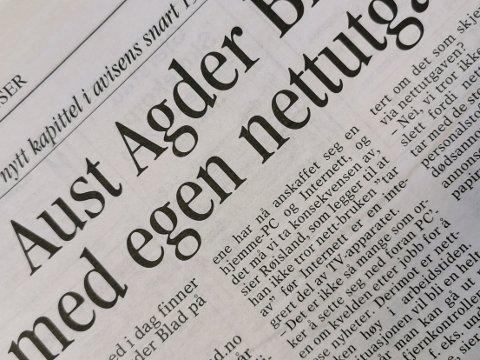 Historien viser at vi var opptatt av mange av de samme tinga i 2000 som vi er 20 år senere. Skaterampe, regn og Risør ideregåendes kole preget spaltene i desember 2000. I tillegg var AAB på nett for første gang - noe redaktør Rolf Røisland var skeptisk til, med mindre man fikk internett via fjernkontrollen til TV.