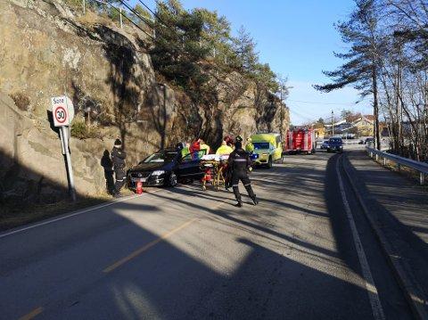 Bilen kjørte i fjellveggen i Krags gate.