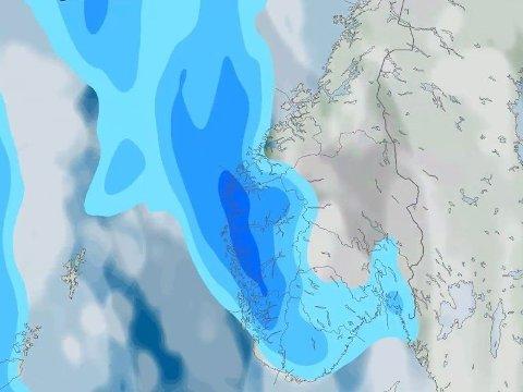 LAVTRYKK: Helga starter med sol og periodevis tåke. Søndag kommer et lavtrykk inn fra vest. Foto: Faksimile (Meteorologisk institutt)