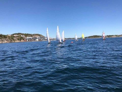 NI BÅTER DELTOK: I strålende solskinn på Byfjorden lørdag deltok ni båter i Vårregetta.