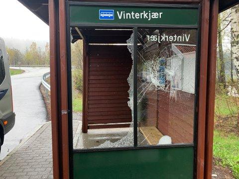 Det ene vinduet på bussholdeplassen på Vinterkjær er knust, mens det andre vinduet antakelig også må skiftes.