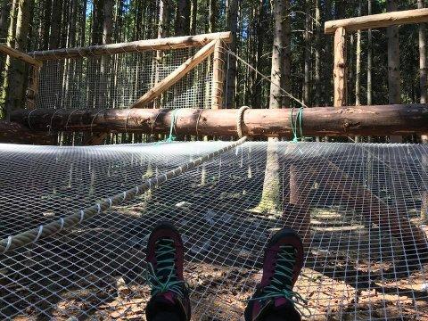 KLATRENETT: Ved Bringedal har friluftsrådet lagt til rette for flotte friluftsmuligheter med et klatrenett.