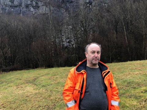Teknisk sjef Geir Netland i Kvinesdal kommune på rasstedet.