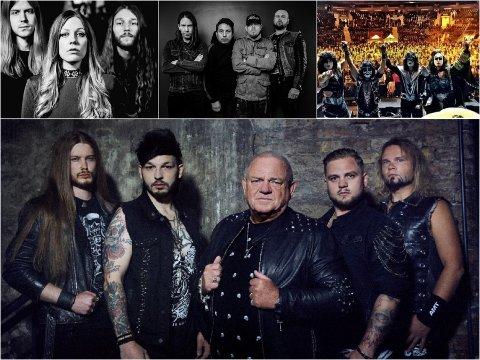 UDO TILBAKE: U.D.O kommer tilbake til Kvinesdal. På bildet ser vi U.D.O nederst, og oppe fra venstre: Blue Pills, Lok og Kiss Forever Band.