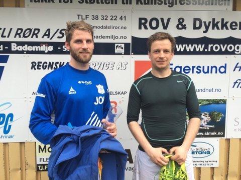 COMEBACK: Jahn Ove H. Tønnessen (til venstre) og Tor Einar Larssen håper at Hidra FK gjør comeback i divisjonssystemet etter at laget ikke klarte å stille A-lag denne sesongen. Her fra en kamp mot Tobienborg i 2016. Foto: Hidra FK