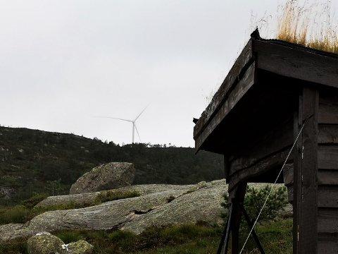RUVER: Fra denne gapahuken har man fantastisk utsikt over Øyvatnet. Nå har man også god utsikt til flere av vindmøllene som reises på Tonstad vindpark.