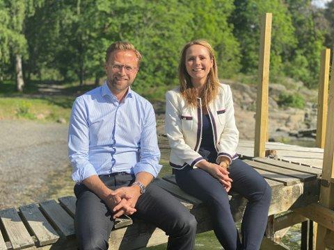 ARBEIDER SAMMEN: Nikolai Astrup (H) og Linda Hofstad Helleland (H) har sammen startet arbeidet med å lage en ny strategi for små byer og større tettsteder.