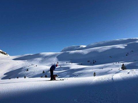 VINTERFERIE: Kristin Valle Printz bruker vinterferien til å finslipe skiteknikken i hjemtraktene i Telemark. Ikke vanskelig å komme seg ut med sånne forhold.
