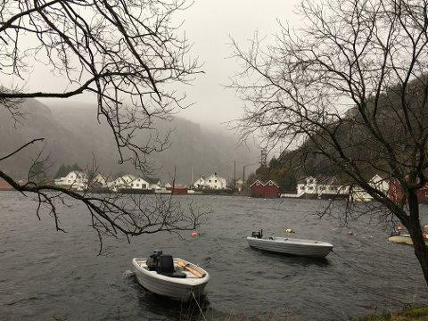 HØYT: Vannet gikk over sine bredder i Åna-Sira 9. februar. Foto: Erik Thime
