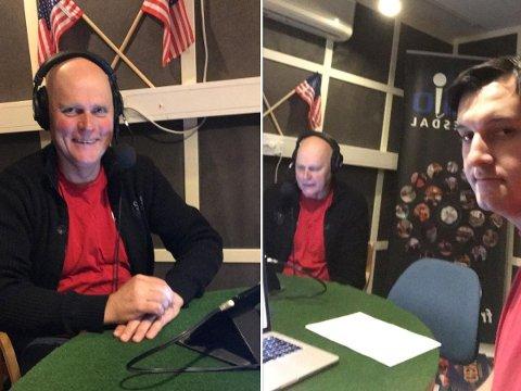 ALTERNATIV MARKERING: Svein Arne Jerstad og Ahmed Lindov på plass i studioet til Radio Kvinesdal.