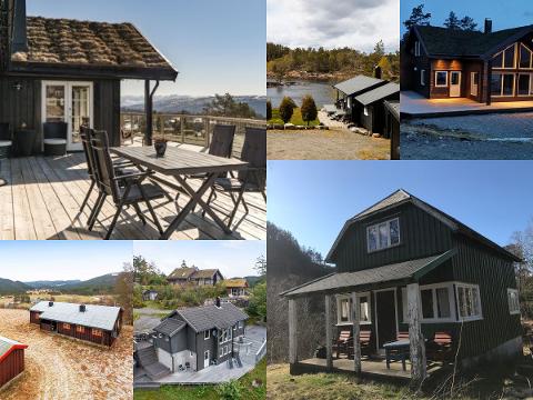 Bildene er hentet fra Finn.no - og viser fritidseiendommer som er til salgs i Flekkefjord og Kvinesdal.