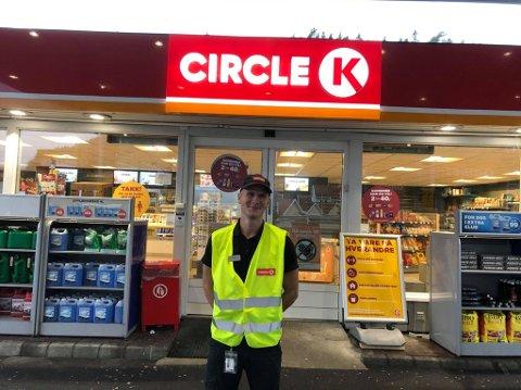 Mattias Høiland på Circle K Flekkefjord og Livold.