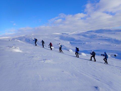 LANG REKKE: Elevene fra Harestad skole på Randaberg har hatt en aktiv uke på leirskolen, med mange turer i fantastiske omgivelser på Knaben.