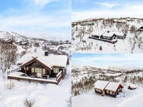 ÉN VISNING: Disse tre hyttene på Knaben ble solgt etter én fellesvisning. På den ene var det over 40 på visning.