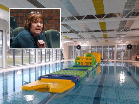 DÅRLIG PLASS: Ann Sissel Haukland (Ap) mener det har blitt dårlig plass til å svømme etter at hinderløypen kom på plass.