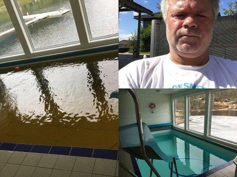 URENT VANN: Vannet i bassenget til Karl Ove Jensen med god og dårlig kvalitet. Nå kan Kvinesdal kommune nærmest bli tvunget til å overta vannverket, som sliter med store økonomiske problemer.