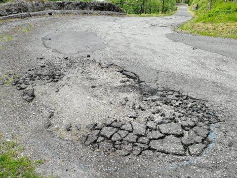 ØDELAGT: Rolv lende sine bilder fra Tronåsen viser at veien har mange skader som trenger utbedring.
