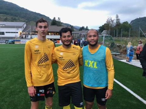 Mellomførnøyde målscorere føler seg snytt for seieren:..(f.v.) Lazar Milicevic, Elyor Doniyorov og Jonas Flatestøl.