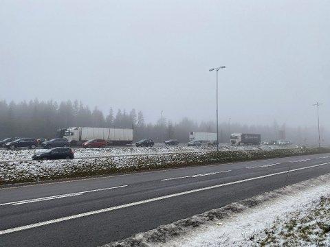 STILLESTÅENDE: Det ble lange køer da flere hundre bilister aksjonerte til støtte for indiske bønder på E6 og E16 ved Gardermoen søndag ettermiddag.