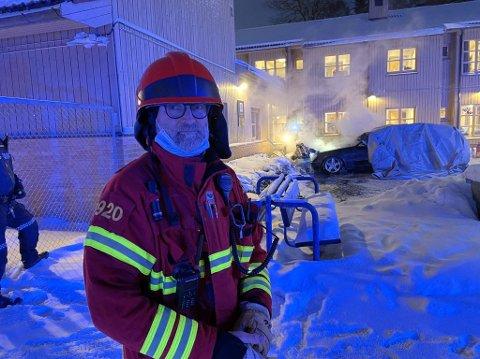 ROS: Utrykningsleder Per Einar Bækkelund skryter av god innsats før brannvesenet kom til stedet.