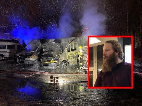 TOTALSKADET: Bilen til Jon Leiulfsruds firma, Fanwear (i midten), brant opp på Holmlia natt til tirsdag. Bildet til høyre er fra en annen anledning.