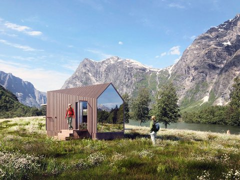 VJU: Navnet skal gi assosiasjoner til utsikten til naturen. Hytta på 17 kvadrat har det meste du trenger. Illustrasjon. Dark arkitekter