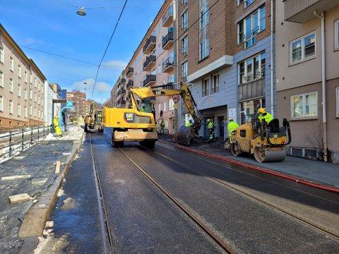 NESTEN PÅ PLASS: Det vil fortsatt pågå arbeider i Grefsenveien, men mye er på plass