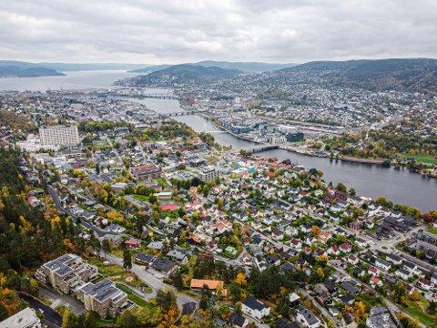 I LANDSTOPPEN: Drammen er helt i Norgestoppen når det gjelder prisvekst de siste ti årene.