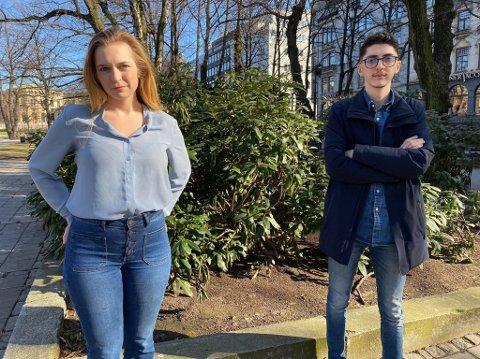UT MOT BYRÅDEN: Oslo Høyres Mathilde Tybring-Gjedde og  Mehmet Kaan Inan reagerer kraftig på avgjørelsen om å avlyse norsk-tentamen for VGS-elevene.