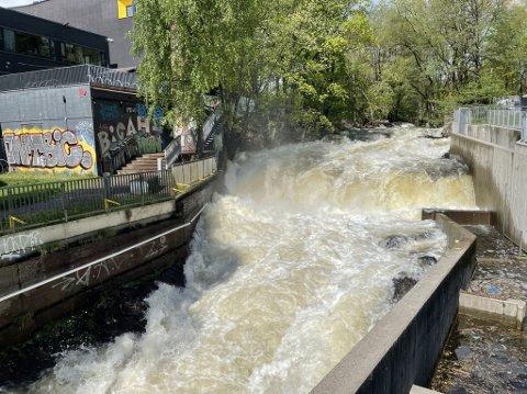 Det er god vannføring i Akerselva ved Nedre Foss tirsdag ettermiddag.