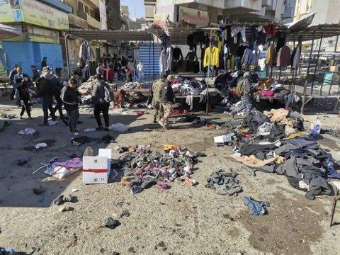 To selvmordsbombere slo til mot et travelt marked i Bagdad i januar. Totalt ble 32 mennesker bekreftet drept og over 100 såret.