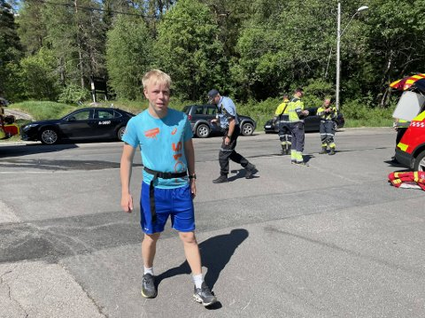 OVERRASKET: Thor Oskar Holmquist ble overrasket da han så alle nødetatene.