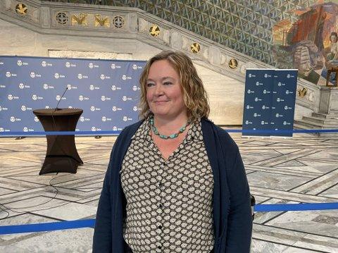 Høyres Gruppeleder Anne Haabeth Rygg på Rådhuset mandag.