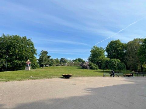 STOR RYDDEJOBB: Store mengder søppel var fjernet fra parken på St. Hanshaugen mandag, men det lå fortsatt spor igjen etter festelig lag.