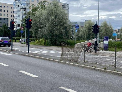 RØDT: Her, over dette gangfeltet ved Teglverket skole på Hasle, kjørte rusføreren på rødt lys.