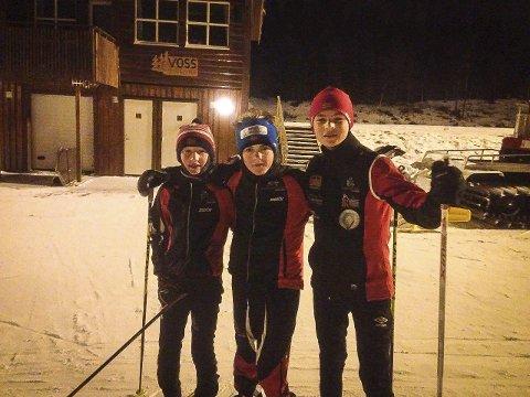 Herman Alvær, Markus Hansen og Jarl Von Reibnitz i Herresåsen i helga.