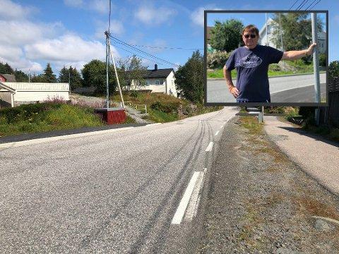 Over denne vegen spring barna for å komme seg til og frå skulen. Kjell Kolstad er skuffa over at Statens vegvesen ikkje kan tilby fotgjengarfelt.