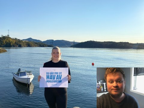 Sara Sekkingstad, har sagt ho skal ut i sjøen og Thomas Larsen hjelper gjerne til.