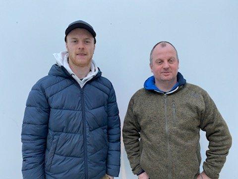 Marius Hellestveit (t.v) saman med kollega Svein Cato Falkanger.