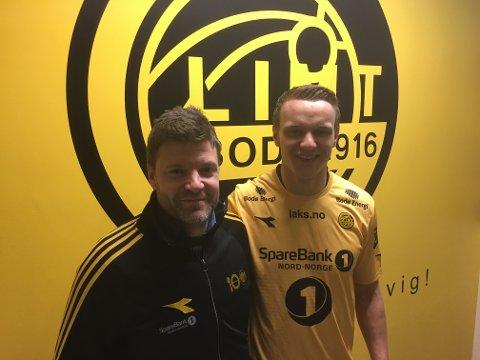 Marius Lode er klar for Bodø/Glimt. Både han og Aasmund Bjørkan er godt fornøyde.