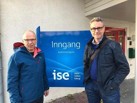 Daglig leder Jan Johansen i ISE nett og adm. dir. Odd-Emil Ingebrigtsen er fornøyde med at selskapet ligger på topp når det gjelder kvalitet på det de leverer. Foto: Designia – Lars Antonsen