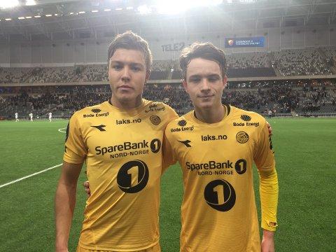 Fredrik Andre Bjørkan og Håkon Evjen var fornøyd med 1-1-scoringen, men skuffet over at det til slutt ble tap 1-3 mot Djurgården. Foto: Kent Ågnes, Bodø/Glimt