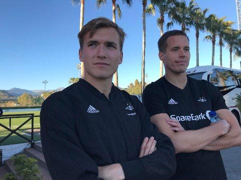 Morten Ågnes Konradsen og storebror Anders på Marbella i vinter. Nå kan lillebror bli TIL-spiller for 2018-sesongen.
